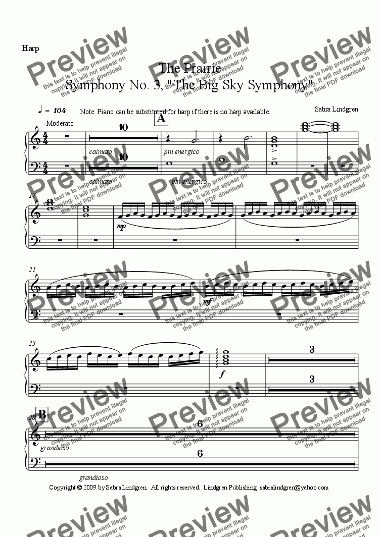 "page one of the Harp part from The Prairie, Symphony No. 3, ""The Big Sky Symphony"""