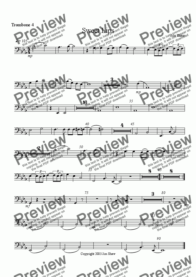 page one of the Trombone 4 part from Sweet Lips