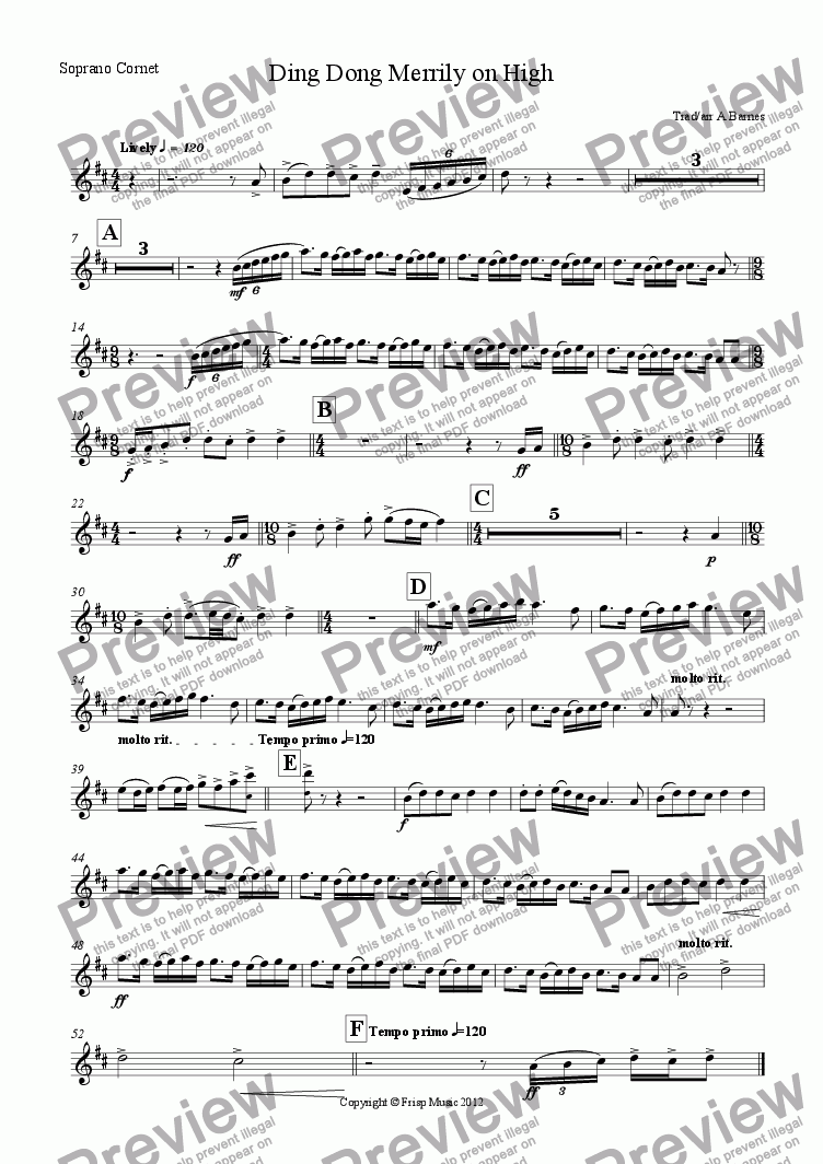 page one of the Soprano Cornet part from Ding Dong Merrily on High
