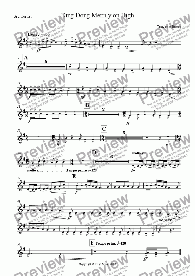 page one of the 3rd Cornet part from Ding Dong Merrily on High
