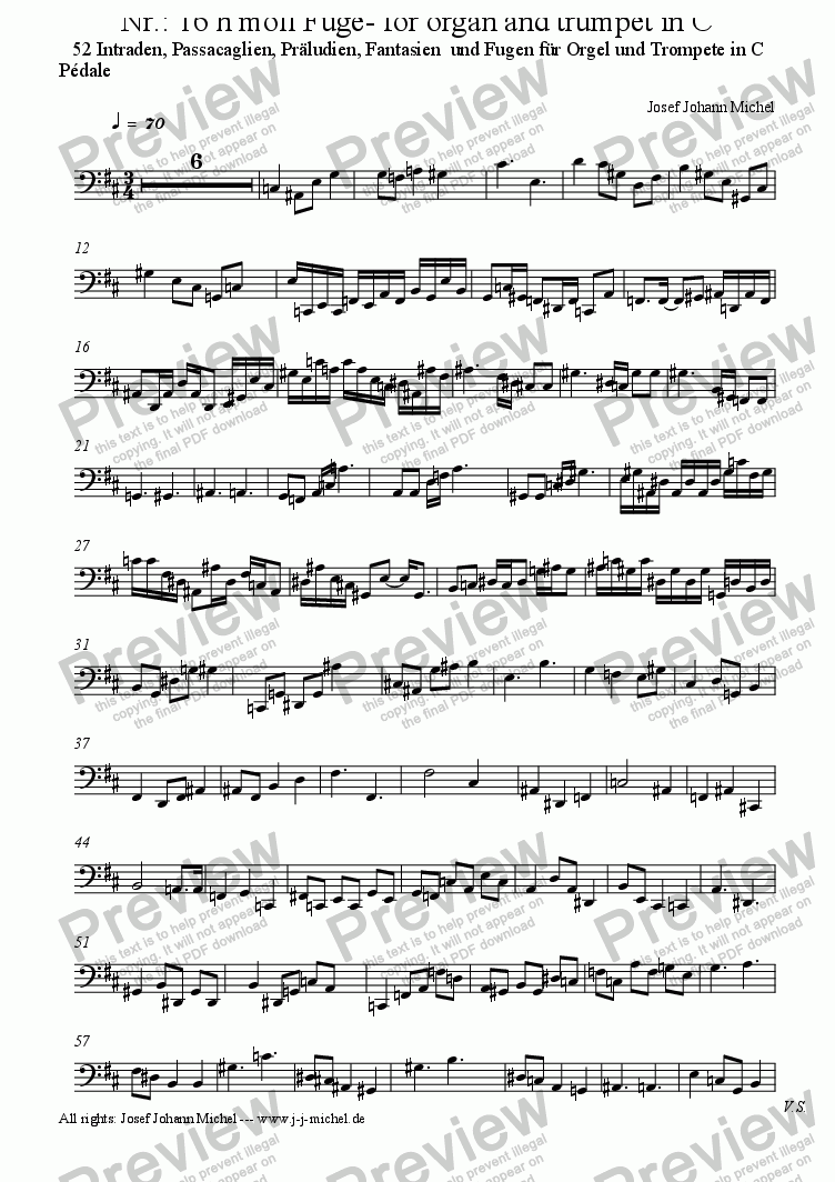 page one of the Pédale part from Nr.: 16 h moll Fuge- for organ and trumpet in C