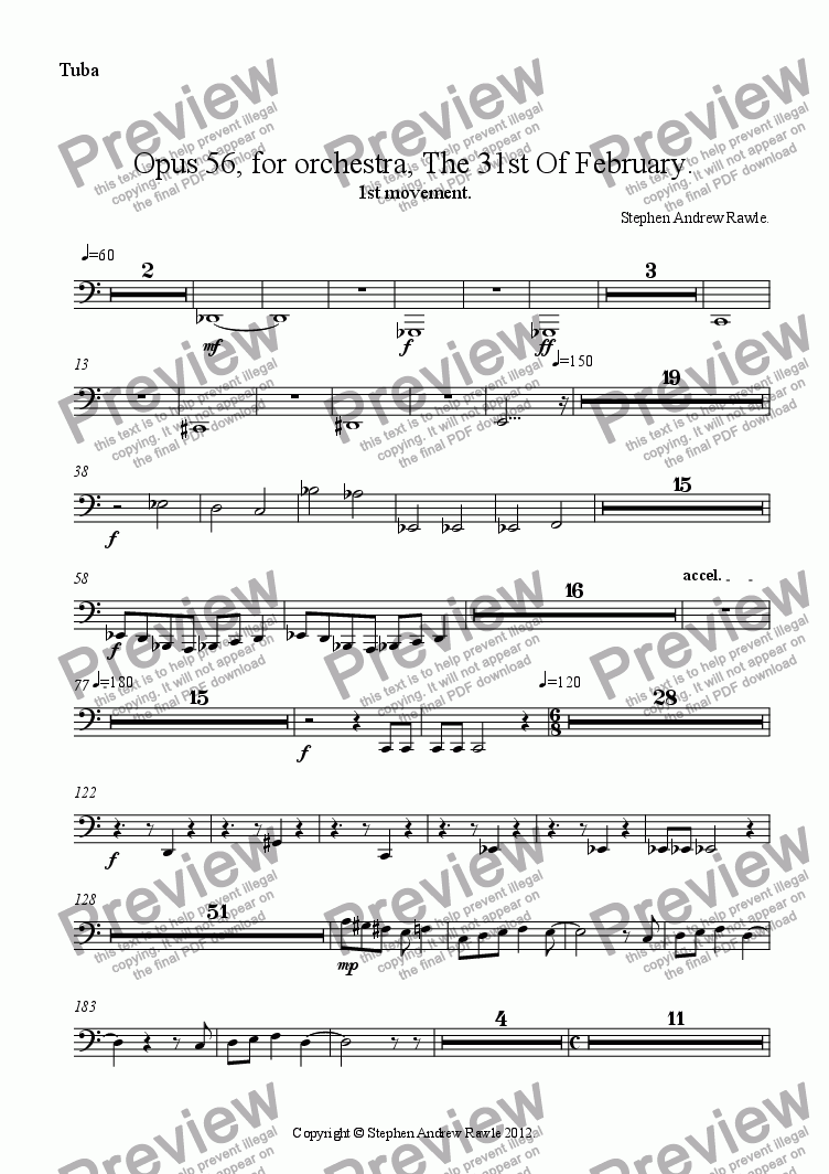 page one of the Tuba part from Opus 56/1, The 31st Of February.