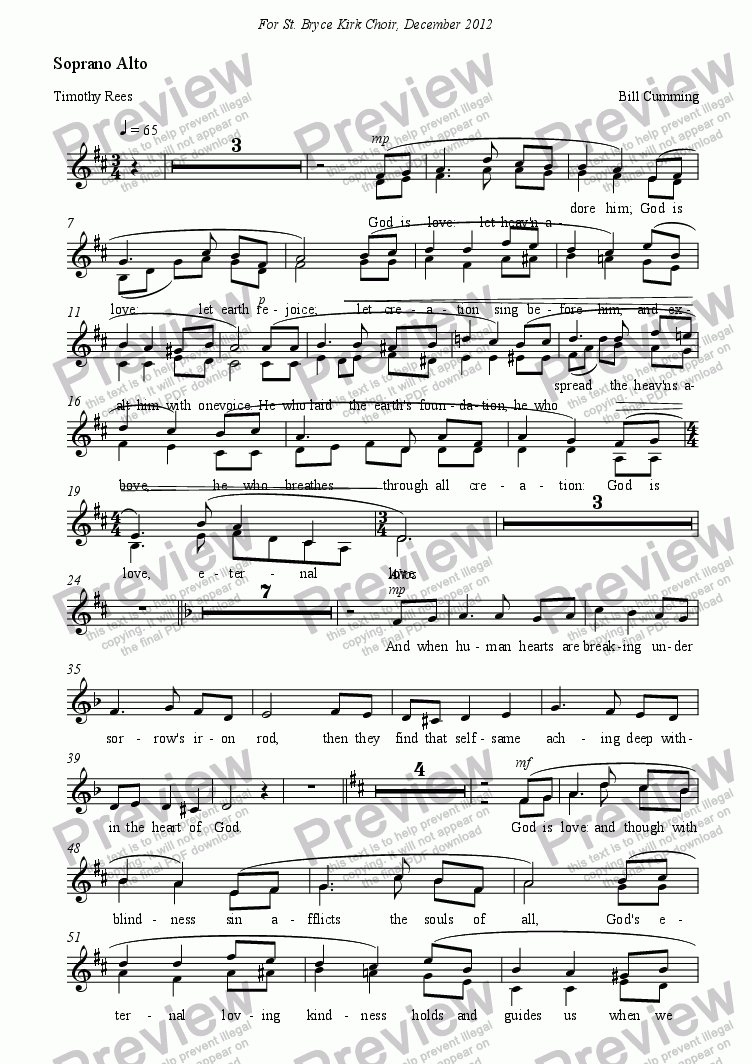 page one of the Soprano Alto part from God is love