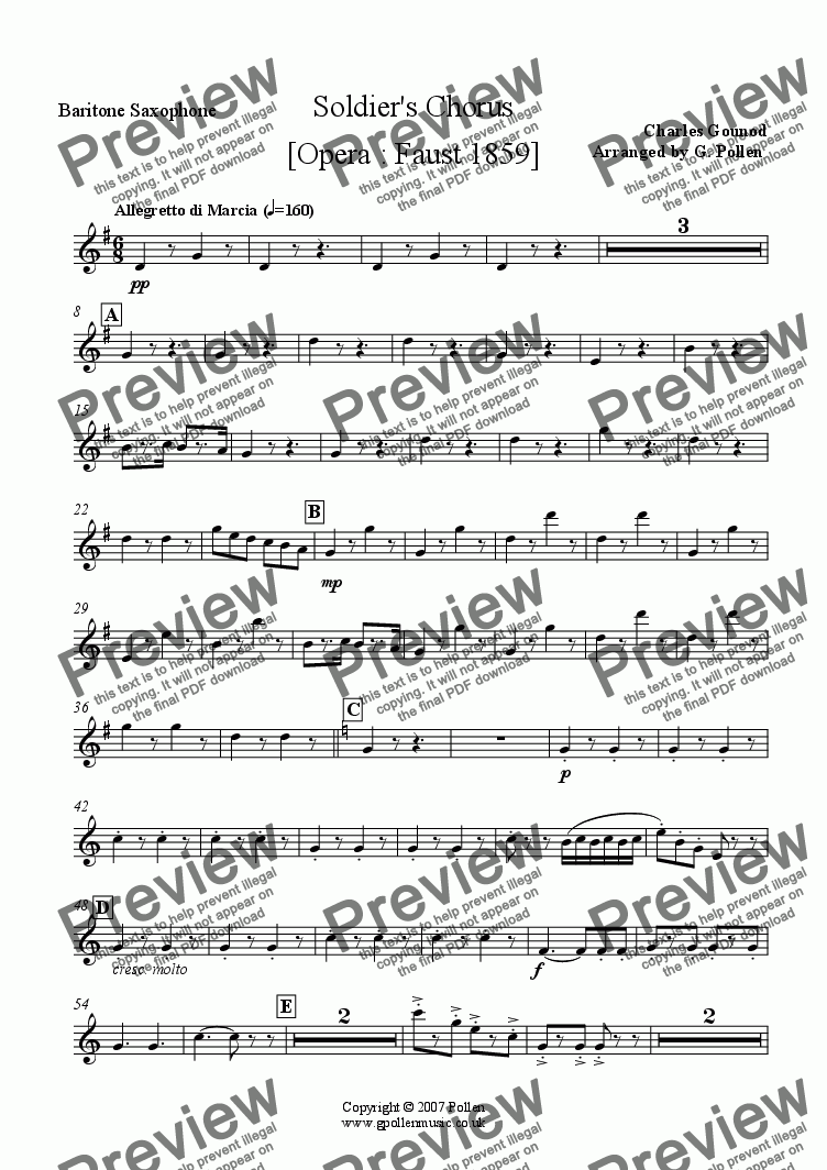page one of the Baritone Saxophone part from Soldiers Chorus [Opera : Faust 1859] (CB)