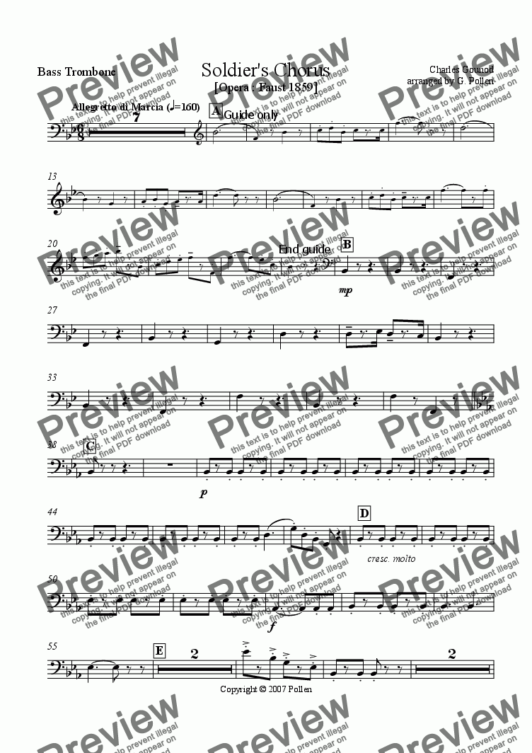 page one of the Bass Trombone part from Soldiers Chorus [Opera : Faust 1859] (CB)