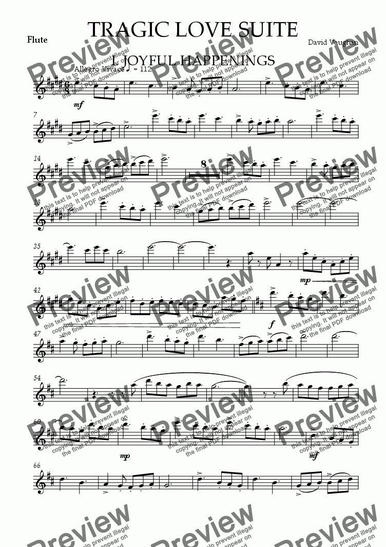 page one of the Flute part from Tragic Love Suite