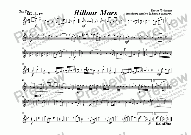page one of the sax tenor part from Rillaar Mars (for fanfare band)