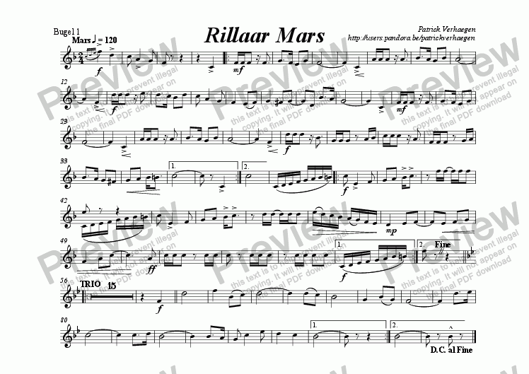 page one of the bugel 1 part from Rillaar Mars (for fanfare band)