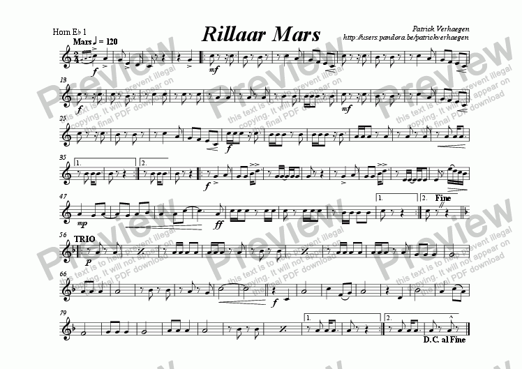 page one of the hoorn Eb 1 part from Rillaar Mars (for fanfare band)