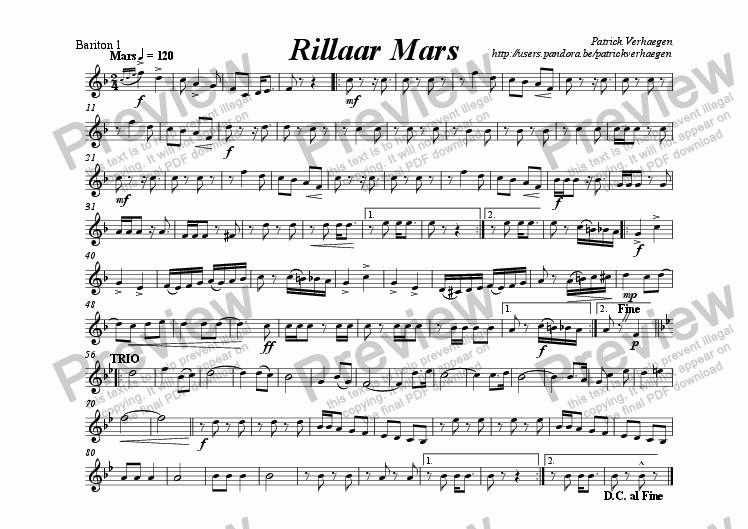 page one of the bariton 1 part from Rillaar Mars (for fanfare band)