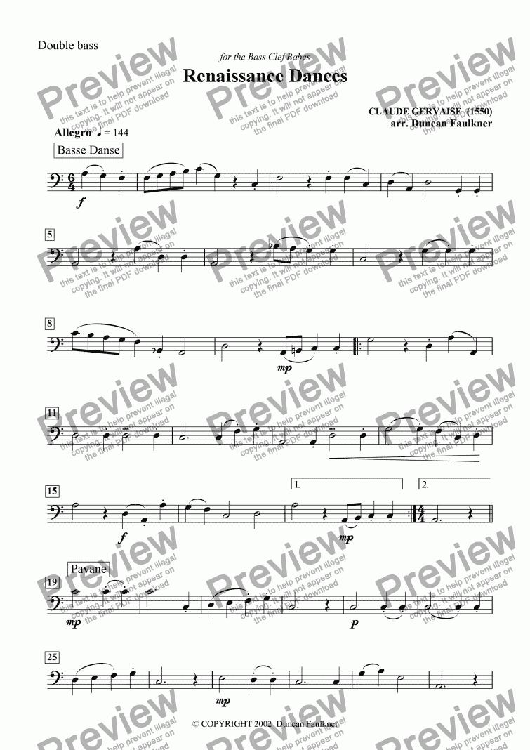 Double bass part from Renaissance Dances - Download PDF file