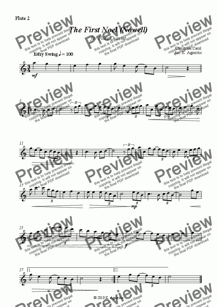page one of the Flute 2 part from The First Noel (Nowell) - Jazz Carol for Flute Quartet