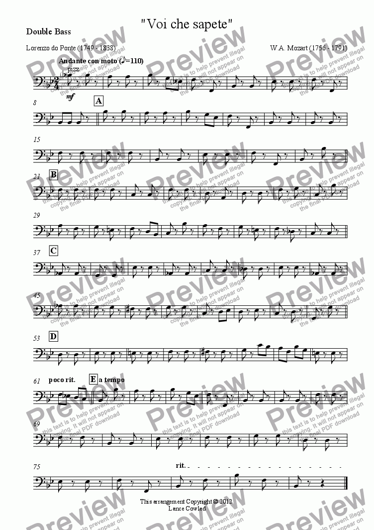 "page one of the Double Bass part from ""Voi che sapete"""