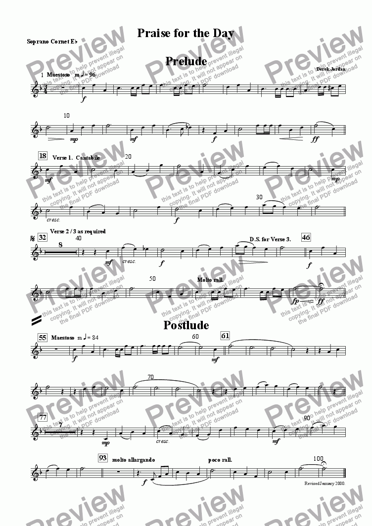 page one of the Soprano Cornet Eb part from Praise for the day