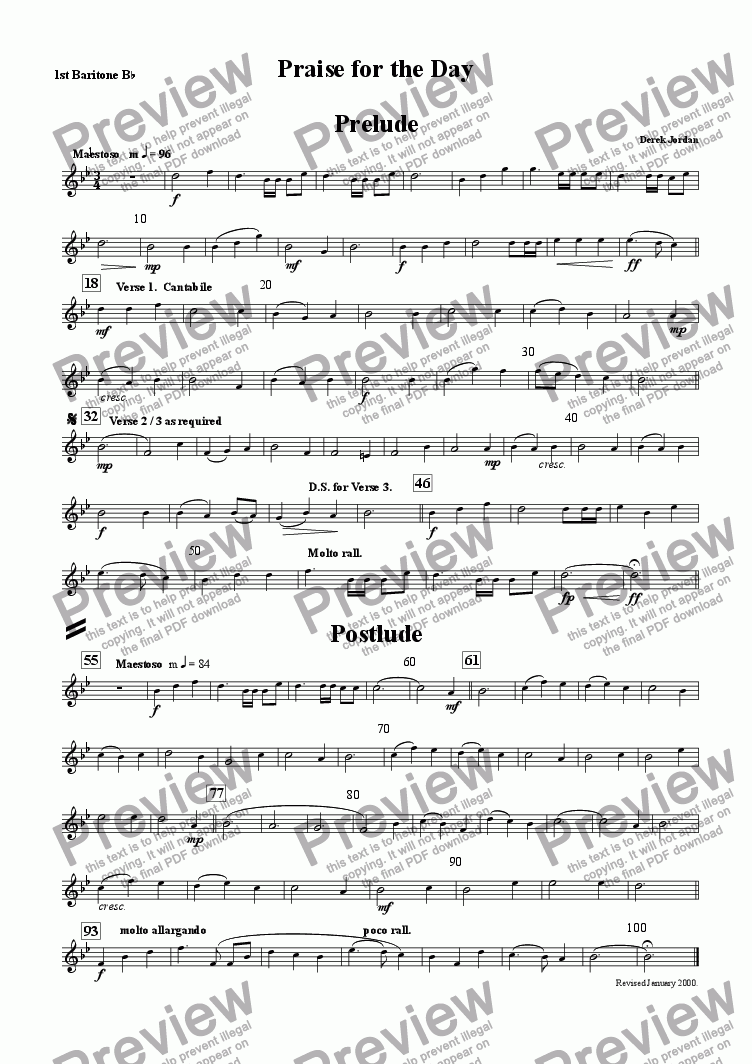 page one of the 1st Baritone Bb part from Praise for the day