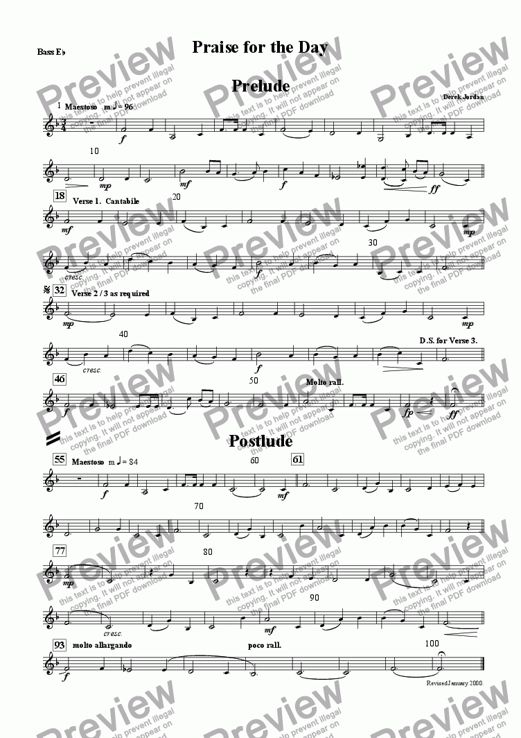 page one of the Bass Eb part from Praise for the day
