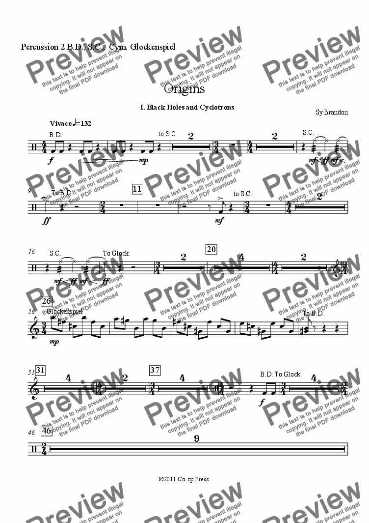 page one of the Percussion 2 B.D., S.C.,  Cym. Glockenspiel part from Origins