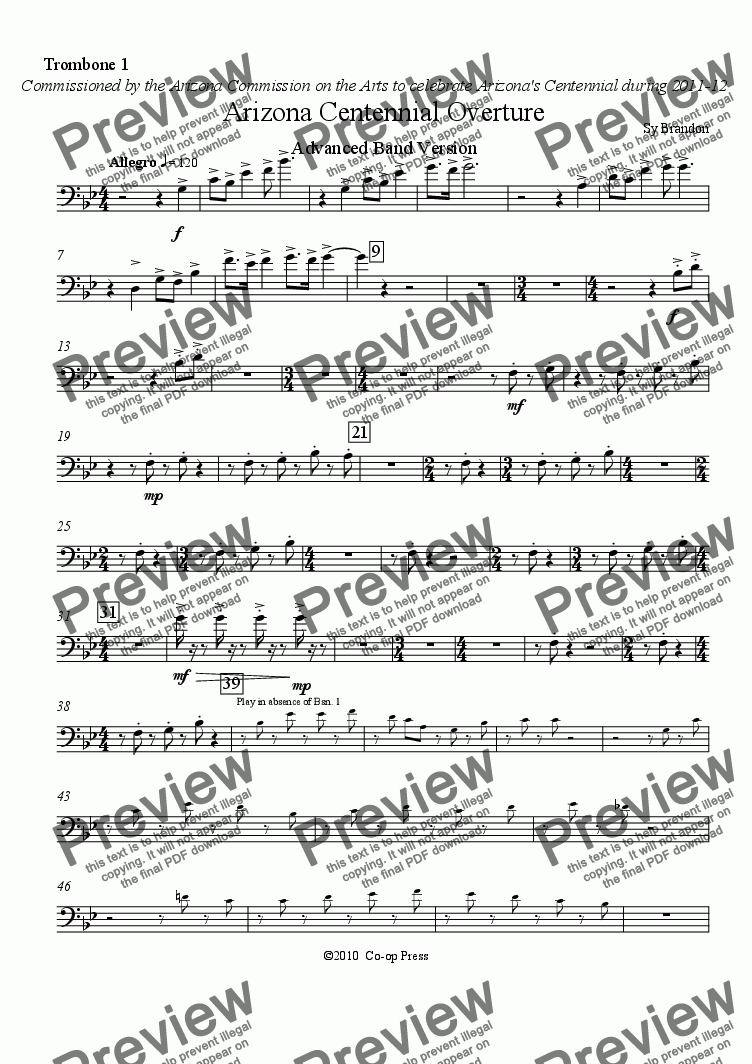 page one of the Trombone 1 part from Arizona Centennial Overture Advanced Band Version