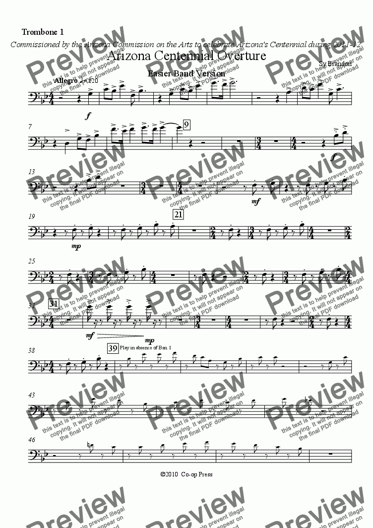 page one of the Trombone 1 part from Arizona Centennial Overture Easier Band Version