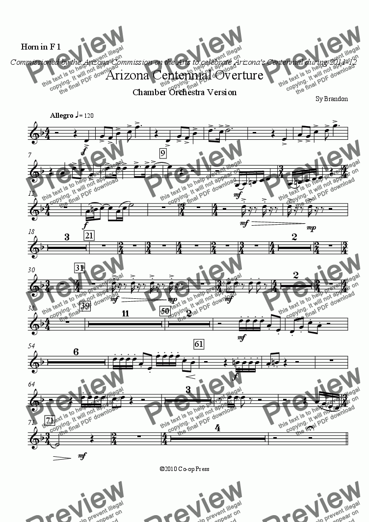 page one of the Horn in F 1 part from Arizona Centennial Overture Chamber Orchestra Version