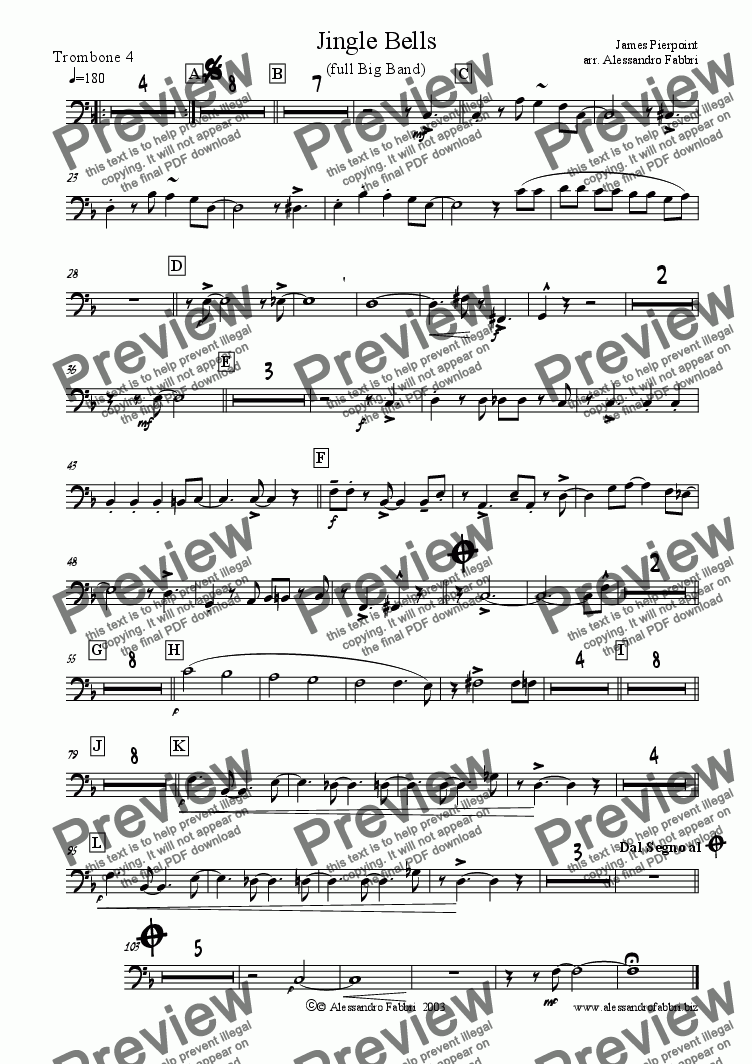 page one of the 4th trombone part from Jingle Bells - Full Big Band