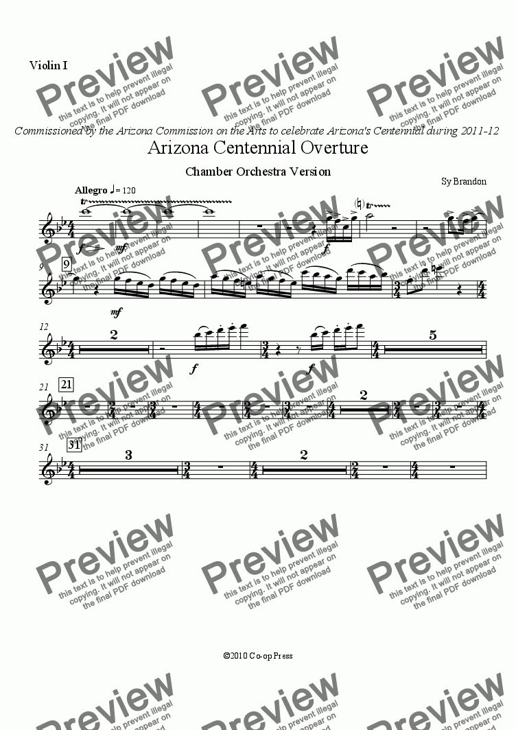page one of the Violin I part from Arizona Centennial Overture Chamber Orchestra Version