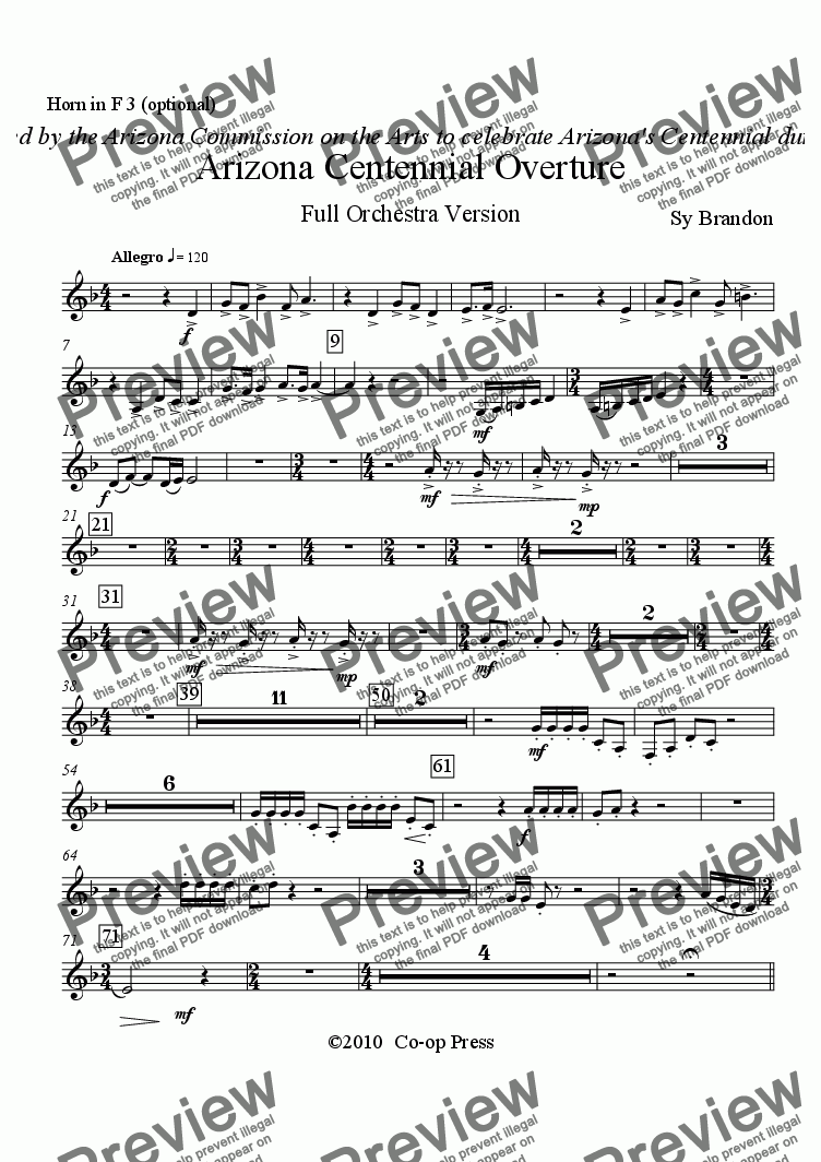 page one of the Horn in F 3 (optional) part from Arizona Centennial Overture Full Orchestra Version
