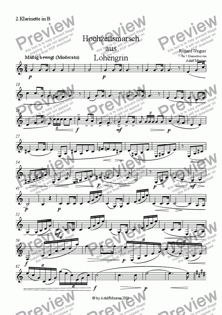 page one of the 2.Klarinette in B part from Hochzeitsmarsch aus Lohengrin (Wedding March)