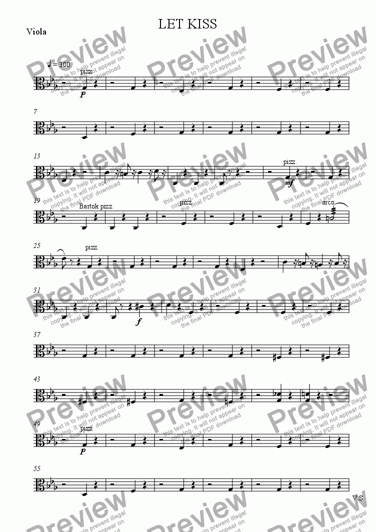 page one of the Viola part from LET KISS