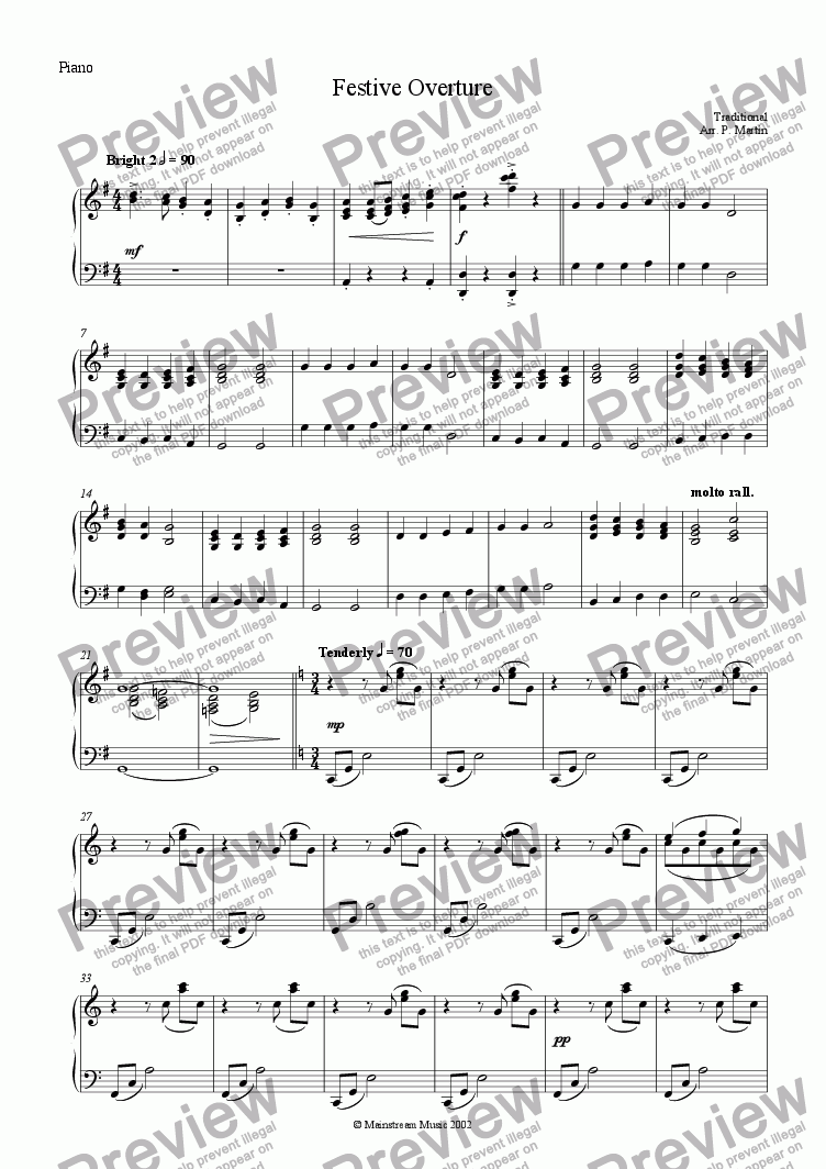 page one of the Piano part from Festive Overture