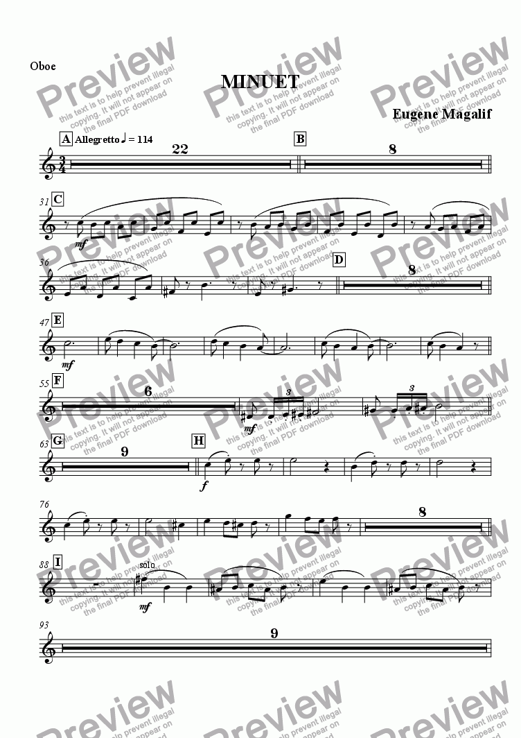 "page one of the Oboe part from MINUET from ""Dances of the Royal Court"". №2"