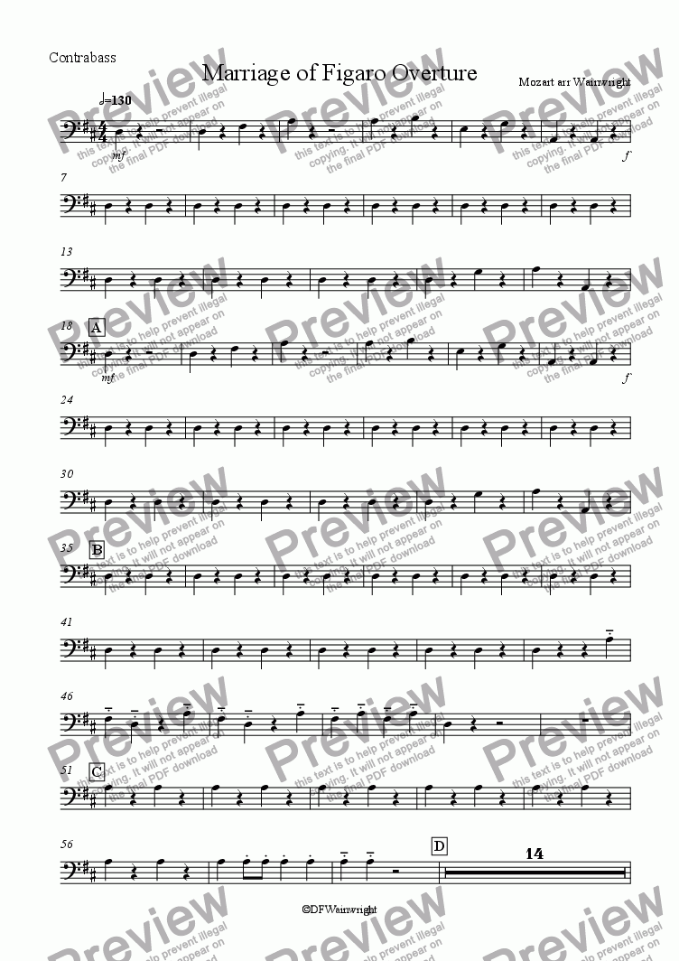 page one of the Double Bass part from Marriage of Figaro Overture