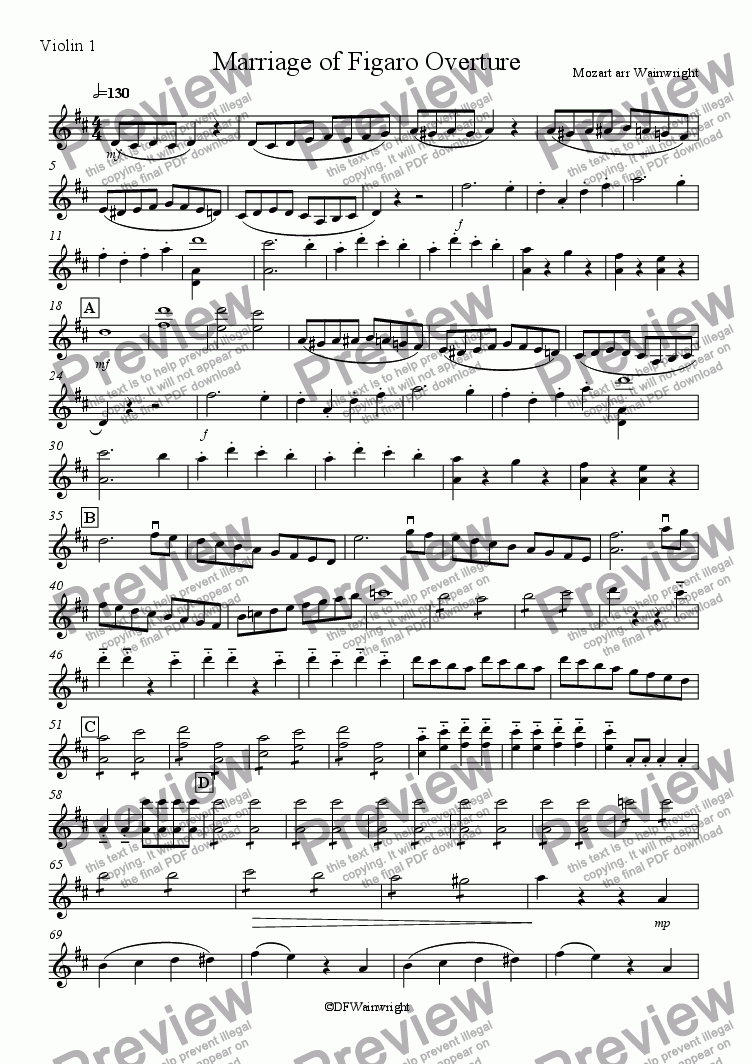 page one of the Violin 1 part from Marriage of Figaro Overture