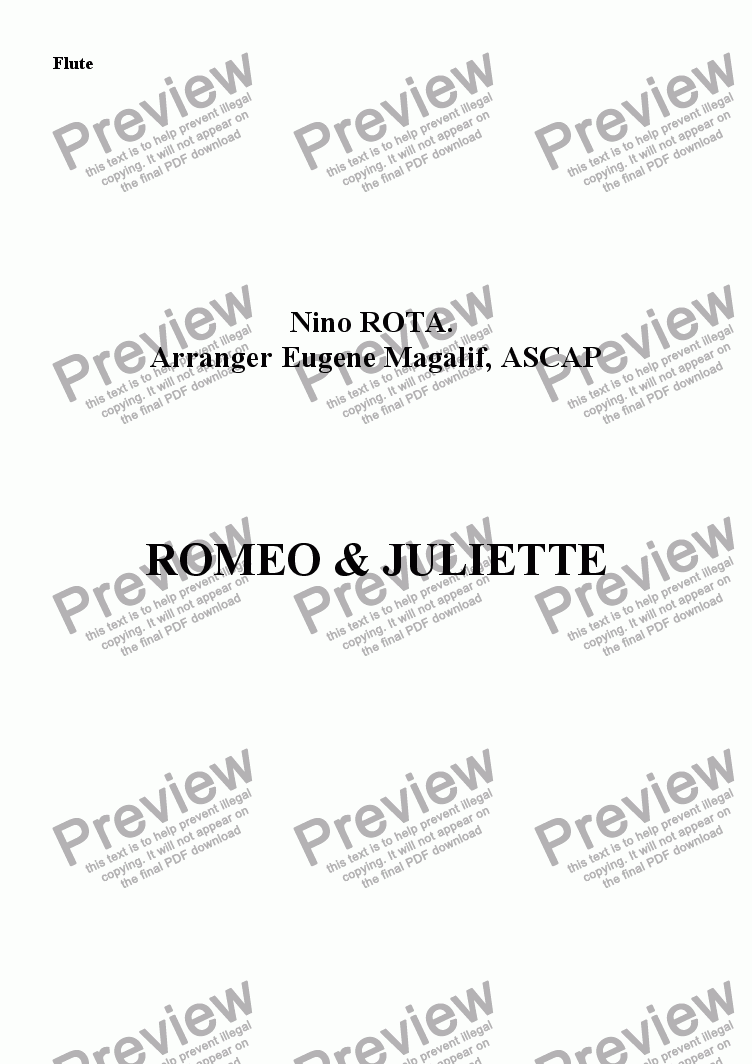 page one of the Flute part from ROMEO & JULIETTE. Flute & Piano (Advanced Flute)