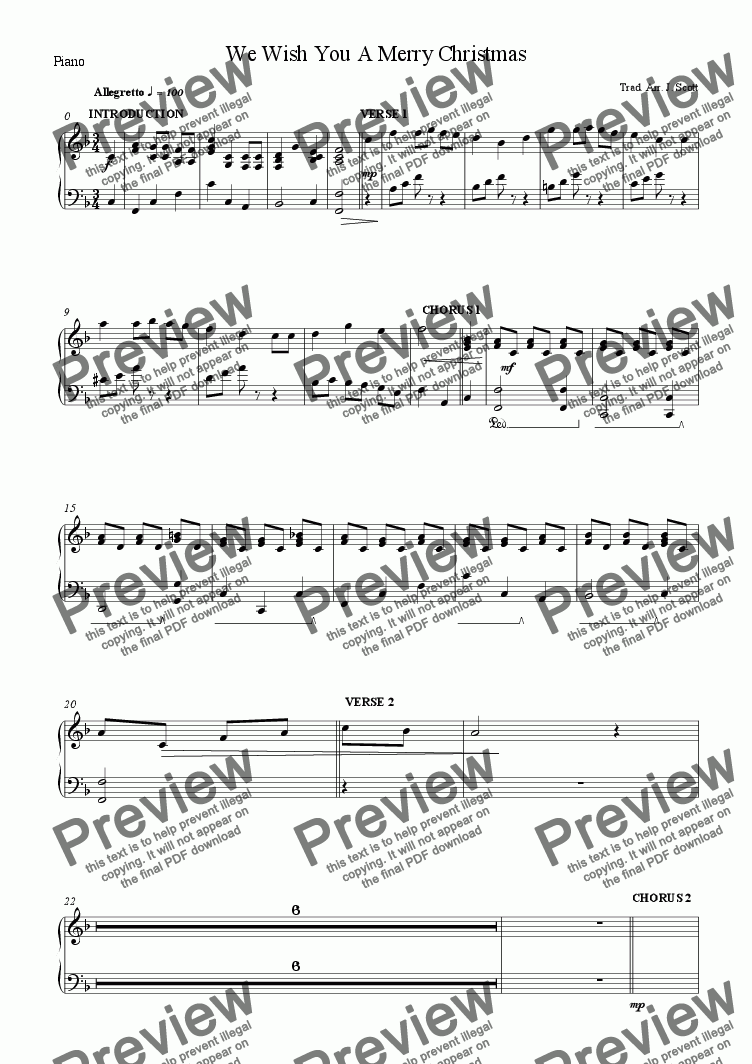 page one of the Piano part from We Wish You A Merry Christmas