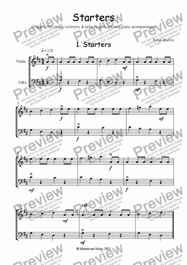 page one of the Violin & cello part from Starters