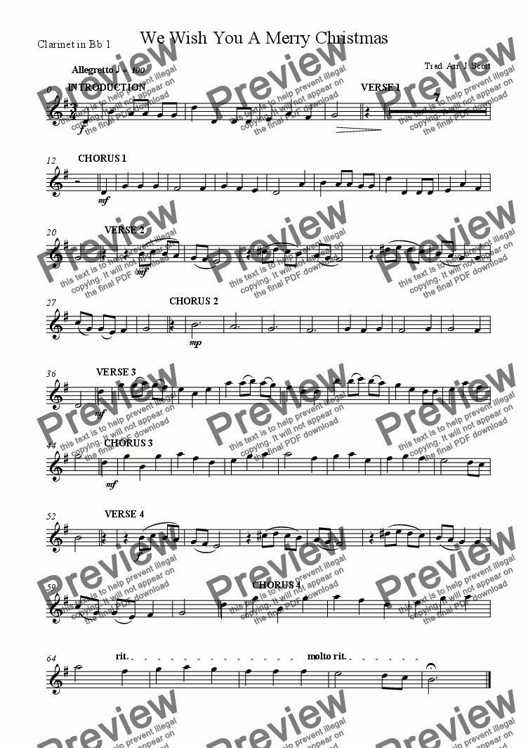 page one of the Clarinet in Bb 1 part from We Wish You A Merry Christmas