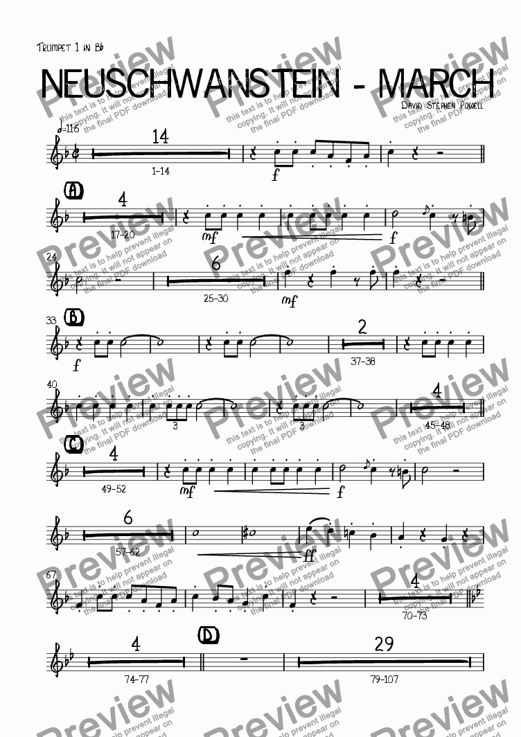 page one of the Trumpet 1 in B^b part from Neuschwanstein - March