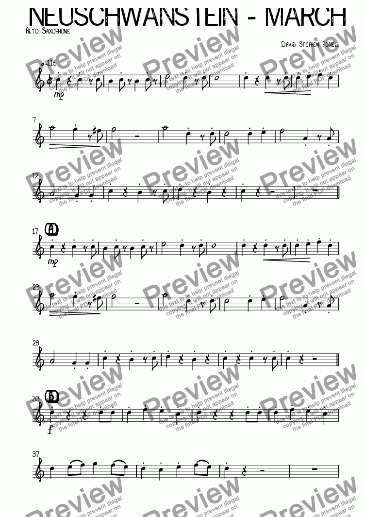 page one of the Alto Saxophone part from Neuschwanstein - March