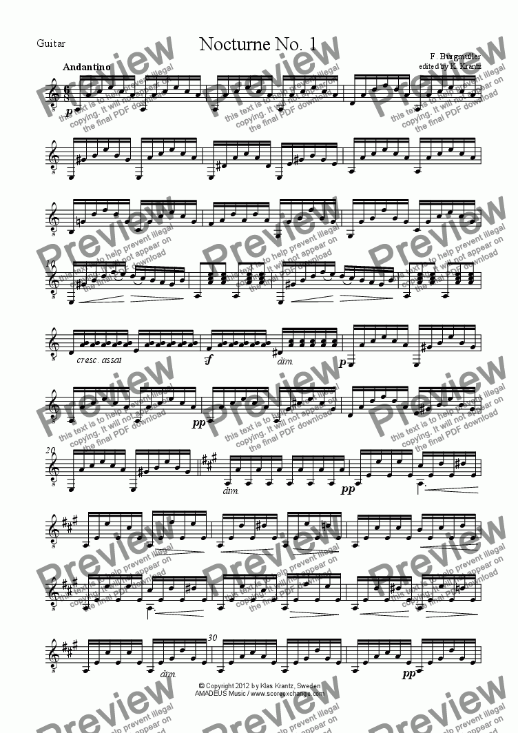 page one of the Guitar part from 3 Nocturnes for clarinet in Bb and guitar