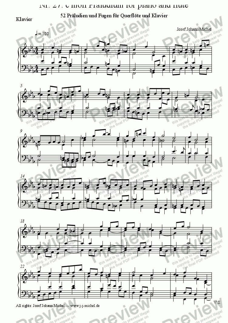 page one of the Klavier part from Nr. 27: c moll Präludium for piano and flute