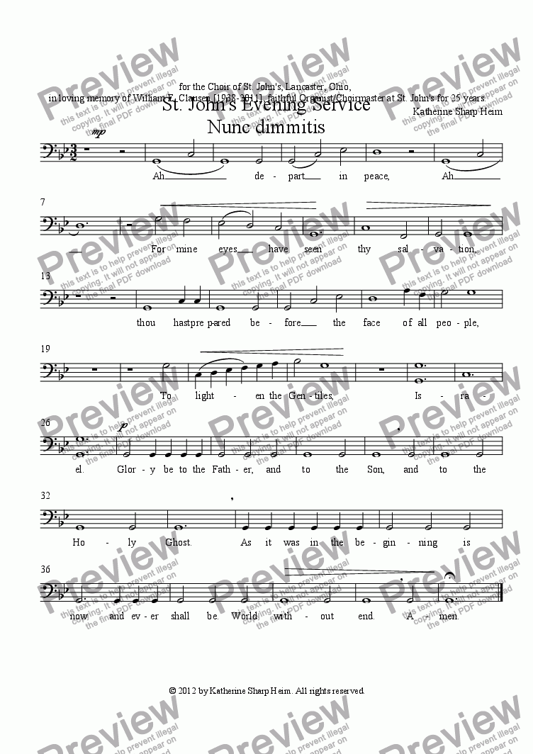 page one of the BASS part from St. John's Evening Service Nunc dimmitis