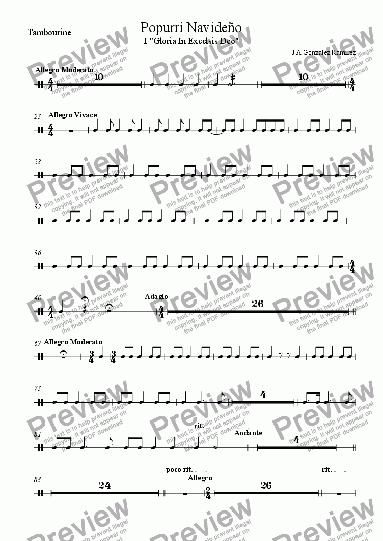page one of the Tambourine part from Christmas Suite For Orchestra