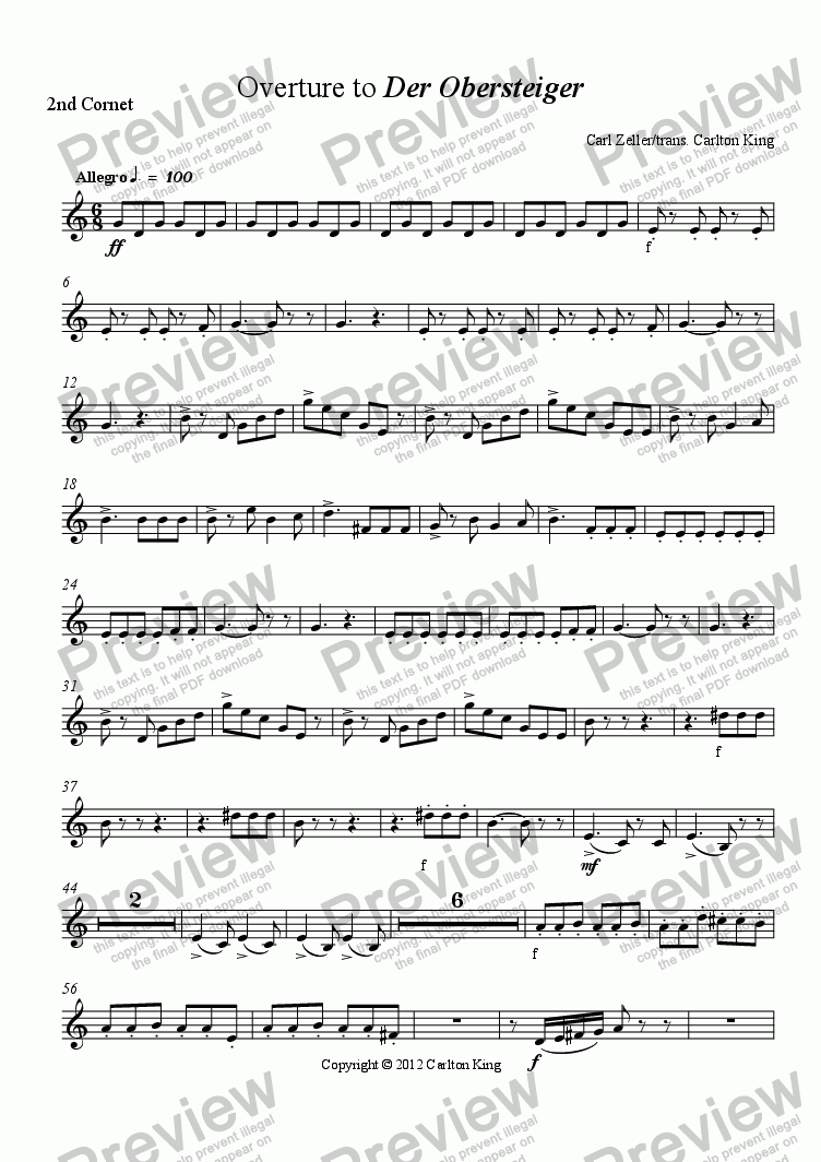 page one of the 2nd Cornet part from Overture to Der Obersteiger