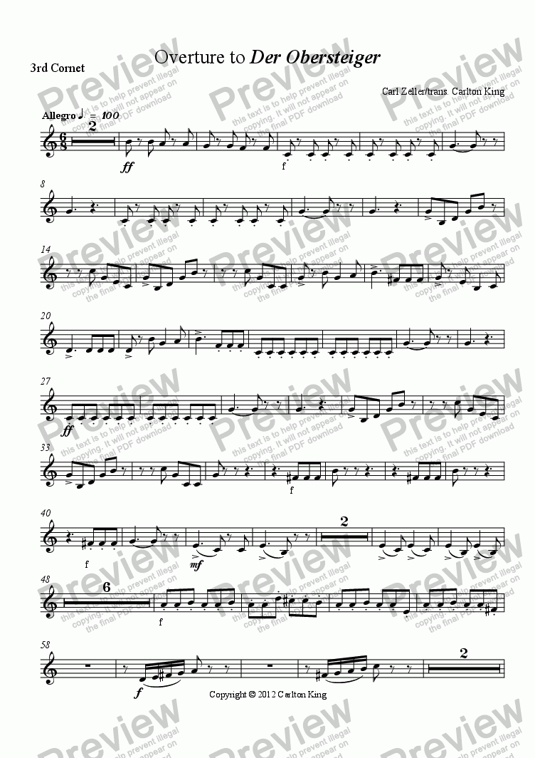 page one of the 3rd Cornet part from Overture to Der Obersteiger