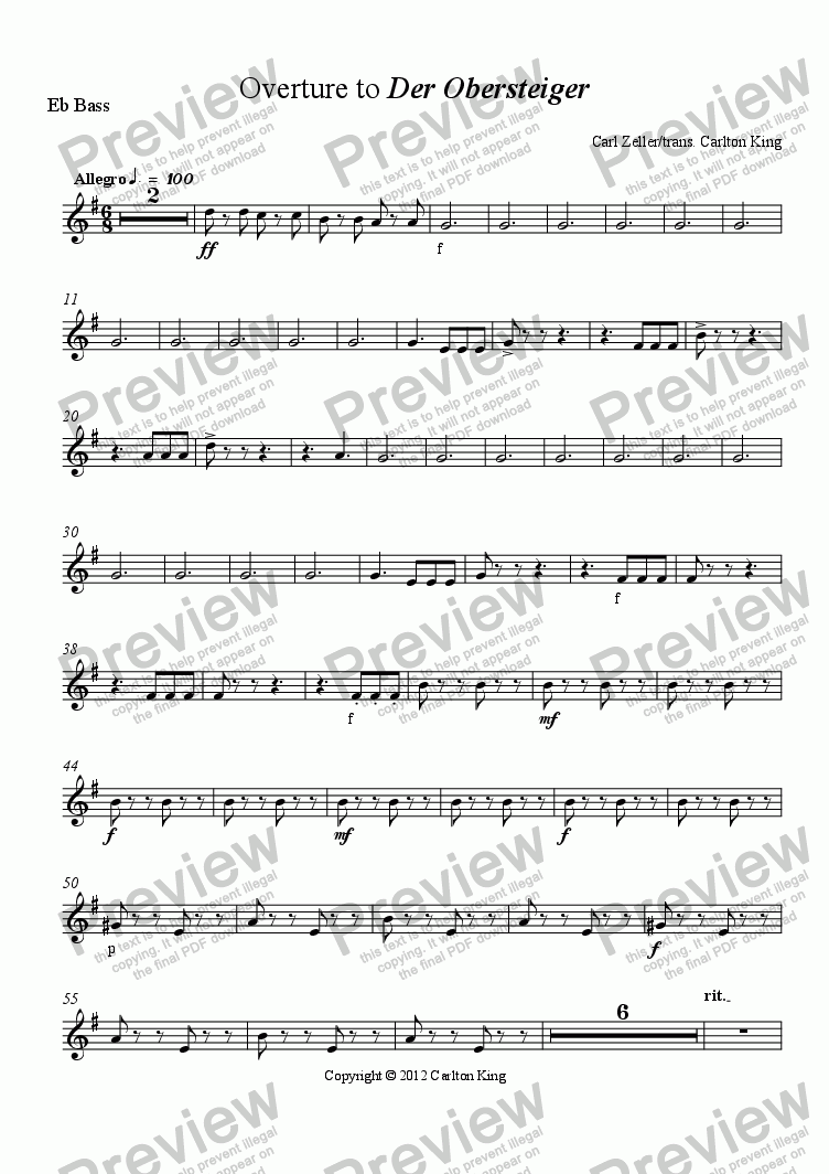 page one of the Eb Bass part from Overture to Der Obersteiger