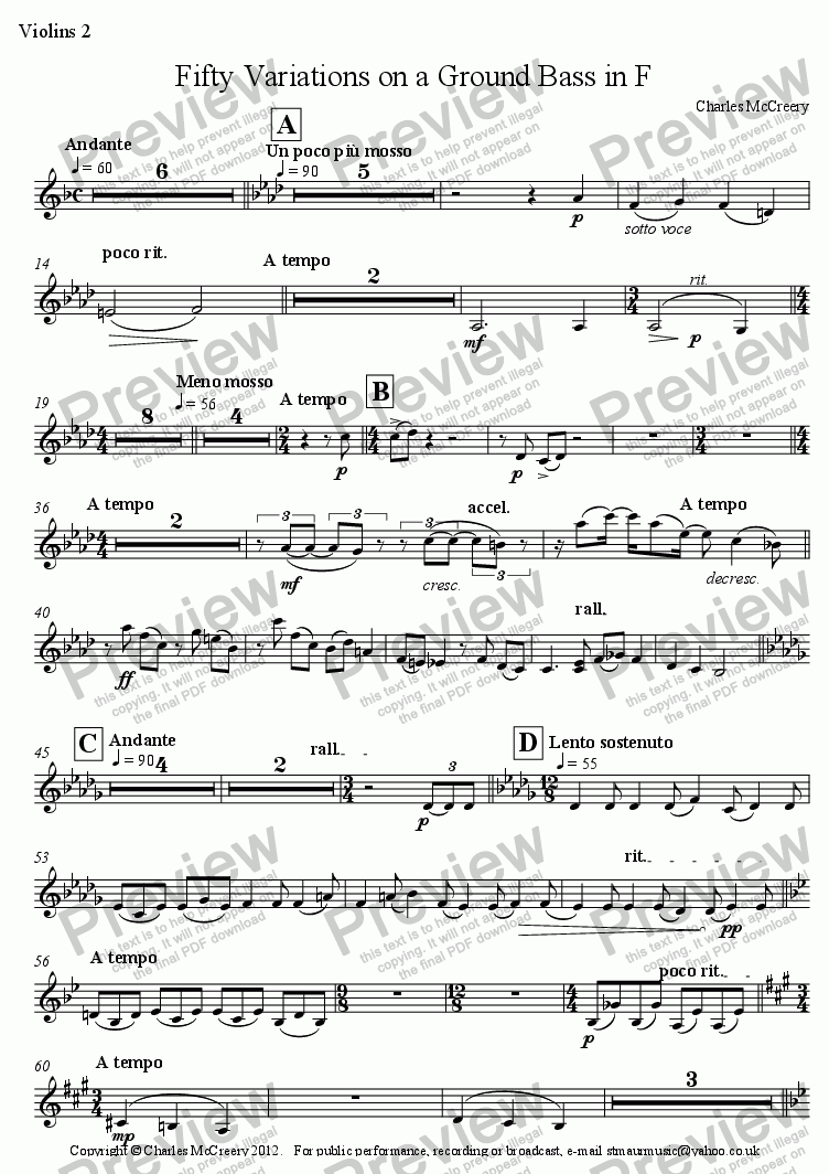 page one of the Violins 2 part from Fifty Variations on a Ground Bass in F