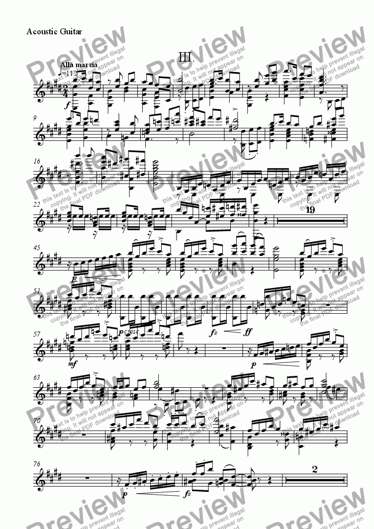 page one of the Acoustic Guitar part from Guitar Concerto: III [+mp3]