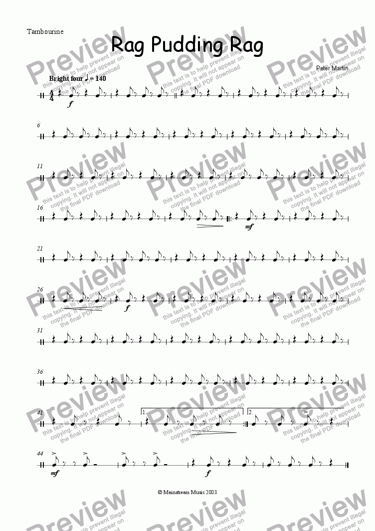 page one of the Tambourine part from Rag Pudding Rag