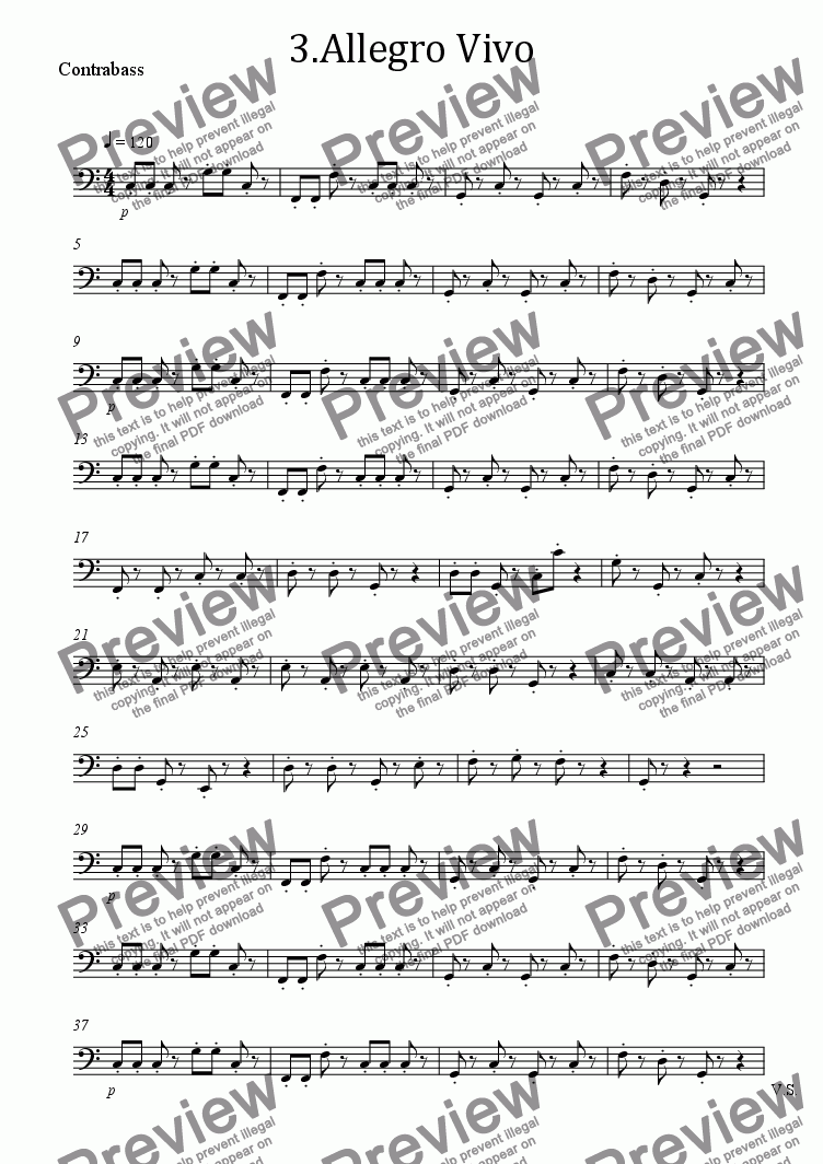 page one of the Contrabass part from 3.Allegro Vivo 3rd Movement Cello Concerto